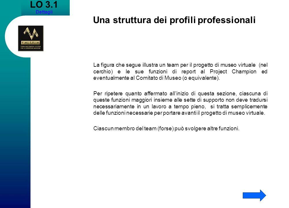 LO 3.1 Dettagli Una struttura dei profili professionali La figura che segue illustra un team per il progetto di museo virtuale (nel cerchio) e le sue