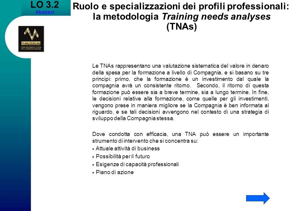 LO 3.2 Abstract Ruolo e specializzazioni dei profili professionali: la metodologia Training needs analyses (TNAs) Le TNAs rappresentano una valutazion