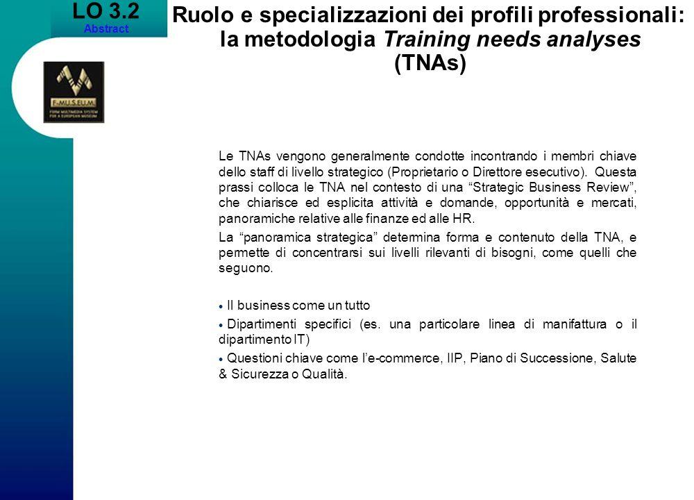 LO 3.2 Abstract Ruolo e specializzazioni dei profili professionali: la metodologia Training needs analyses (TNAs) Le TNAs vengono generalmente condott