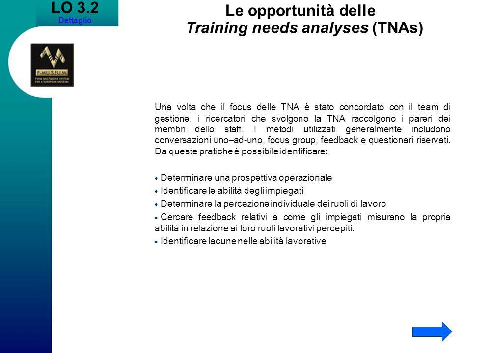 LO 3.2 Dettaglio Le opportunità delle Training needs analyses (TNAs) Una volta che il focus delle TNA è stato concordato con il team di gestione, i ri