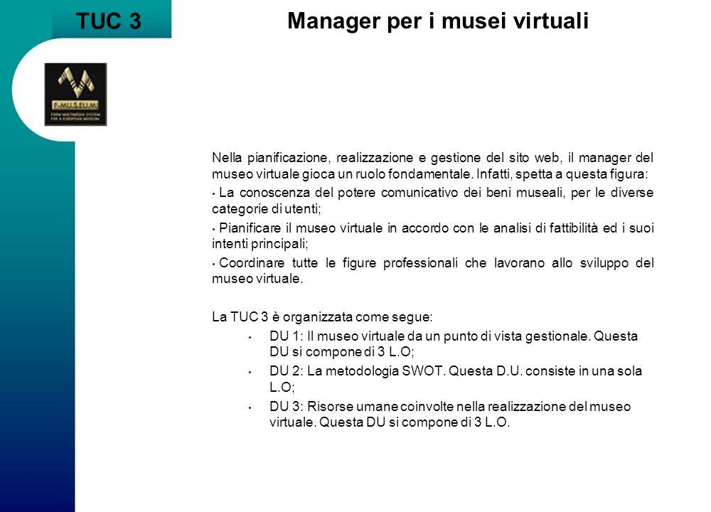 TUC 3 Manager per i musei virtuali Nella pianificazione, realizzazione e gestione del sito web, il manager del museo virtuale gioca un ruolo fondament