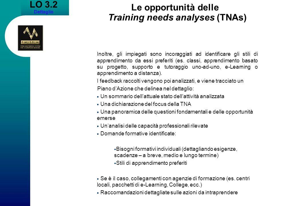 LO 3.2 Dettaglio Le opportunità delle Training needs analyses (TNAs) Inoltre, gli impiegati sono incoraggiati ad identificare gli stili di apprendimen