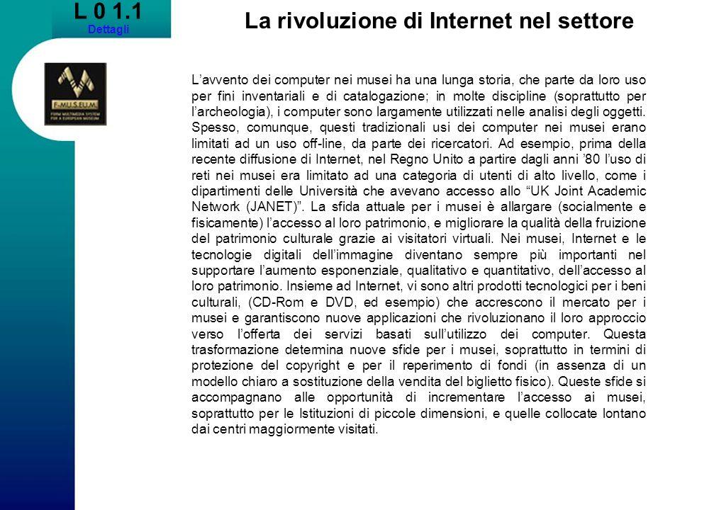 L 0 1.1 Dettagli La rivoluzione di Internet nel settore Lavvento dei computer nei musei ha una lunga storia, che parte da loro uso per fini inventaria