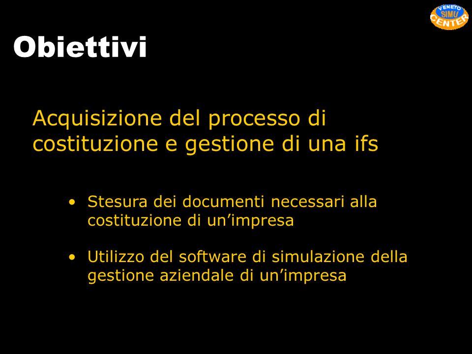 Obiettivi Acquisizione del processo di costituzione e gestione di una ifs Stesura dei documenti necessari alla costituzione di unimpresa Utilizzo del