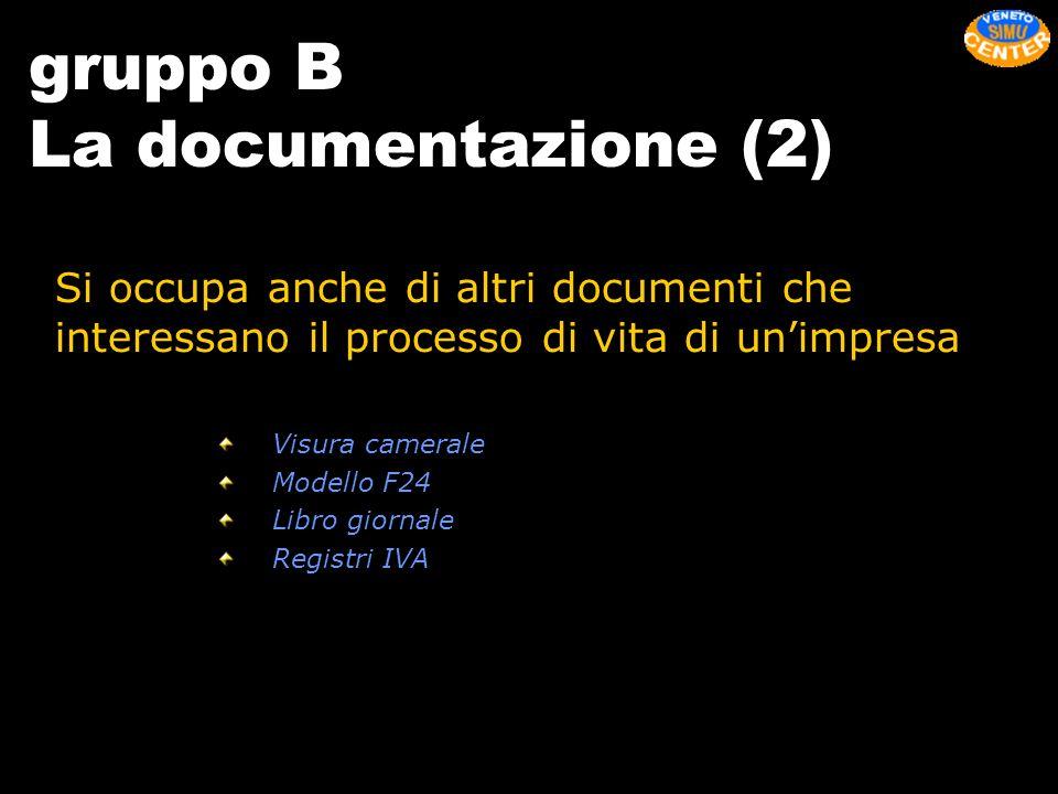 gruppo B La documentazione (2) Si occupa anche di altri documenti che interessano il processo di vita di unimpresa Visura camerale Modello F24 Libro g