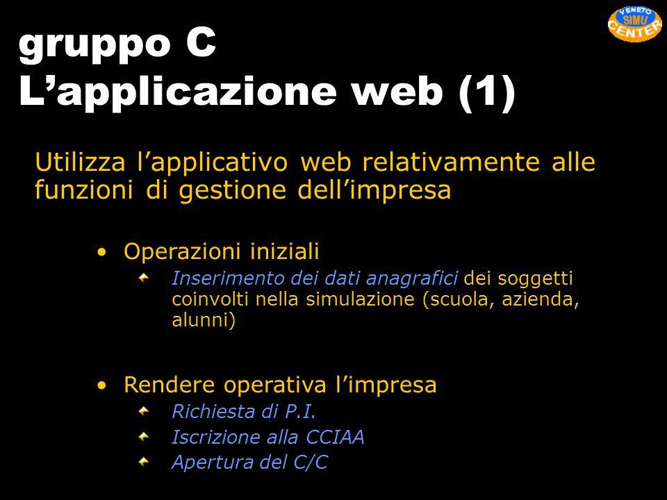 gruppo C Lapplicazione web (1) Utilizza lapplicativo web relativamente alle funzioni di gestione dellimpresa Operazioni iniziali Inserimento dei dati
