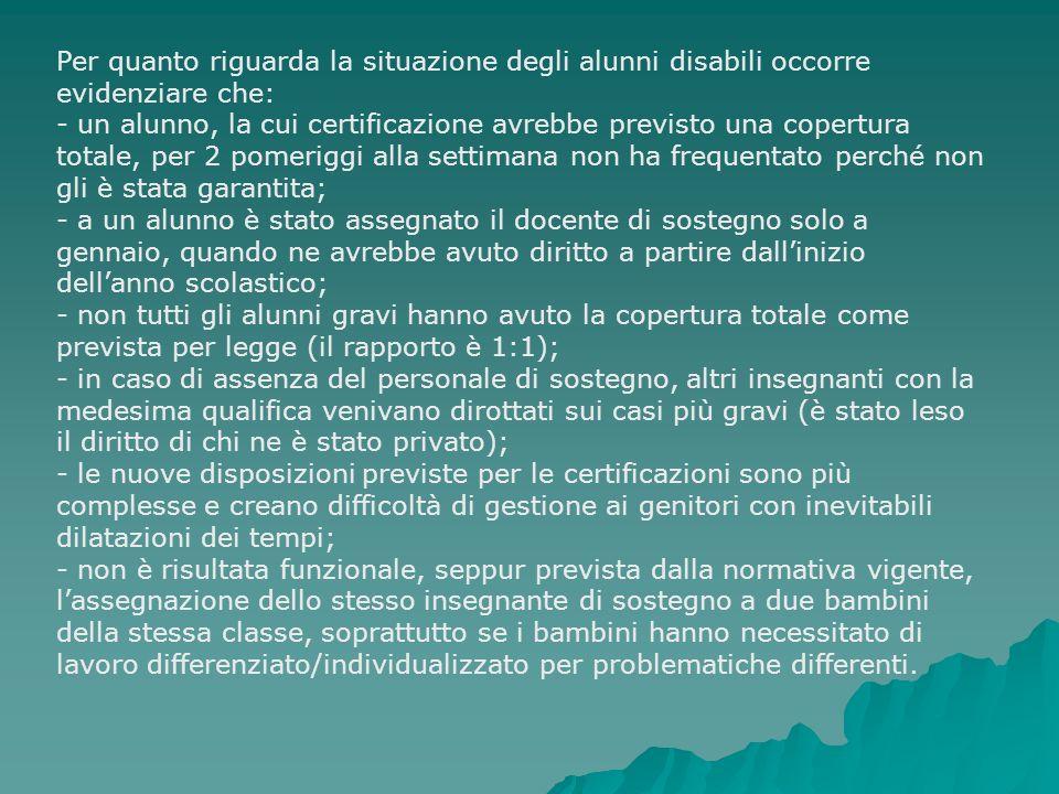 Per quanto riguarda la situazione degli alunni disabili occorre evidenziare che: - un alunno, la cui certificazione avrebbe previsto una copertura tot