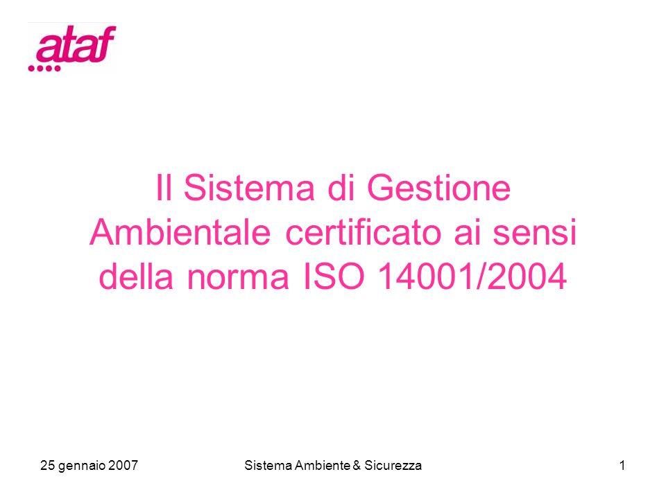 25 gennaio 2007Sistema Ambiente & Sicurezza1 Il Sistema di Gestione Ambientale certificato ai sensi della norma ISO 14001/2004