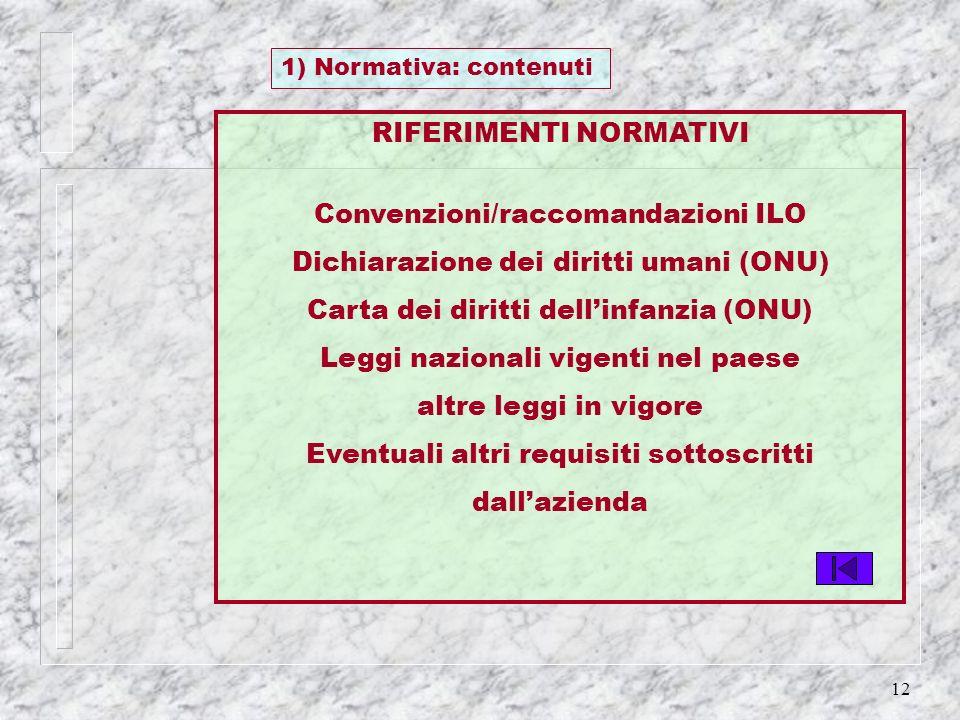 12 RIFERIMENTI NORMATIVI Convenzioni/raccomandazioni ILO Dichiarazione dei diritti umani (ONU) Carta dei diritti dellinfanzia (ONU) Leggi nazionali vi