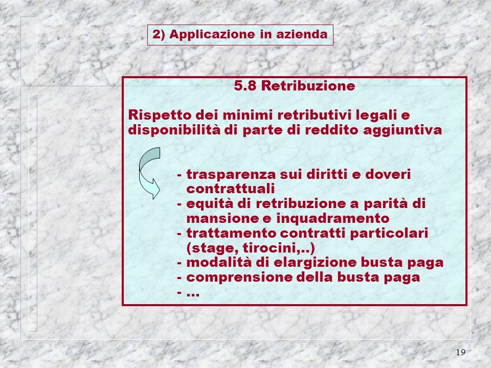 19 5.8 Retribuzione Rispetto dei minimi retributivi legali e disponibilità di parte di reddito aggiuntiva - trasparenza sui diritti e doveri contrattu
