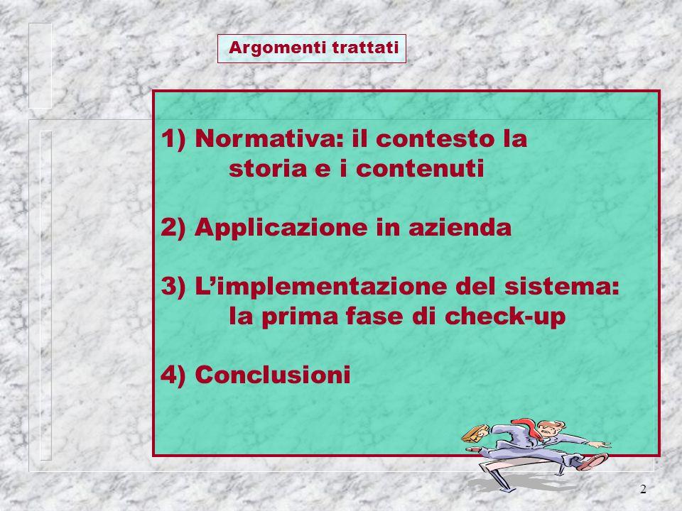 2 1) Normativa: il contesto la storia e i contenuti 2) Applicazione in azienda 3) Limplementazione del sistema: la prima fase di check-up 4) Conclusio