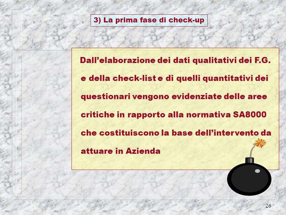 26 Dallelaborazione dei dati qualitativi dei F.G. e della check-list e di quelli quantitativi dei questionari vengono evidenziate delle aree critiche