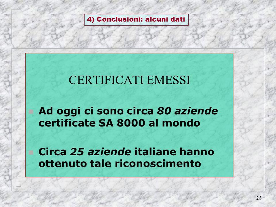 28 CERTIFICATI EMESSI n Ad oggi ci sono circa 80 aziende certificate SA 8000 al mondo n Circa 25 aziende italiane hanno ottenuto tale riconoscimento 4