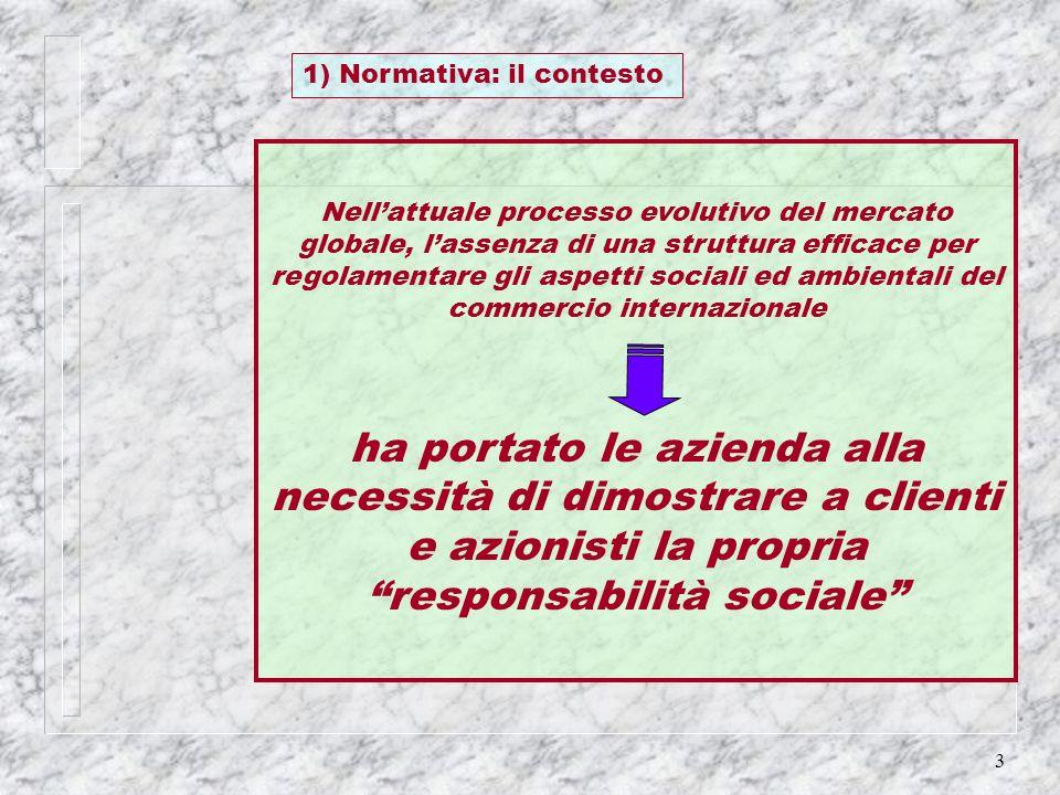 3 Nellattuale processo evolutivo del mercato globale, lassenza di una struttura efficace per regolamentare gli aspetti sociali ed ambientali del comme