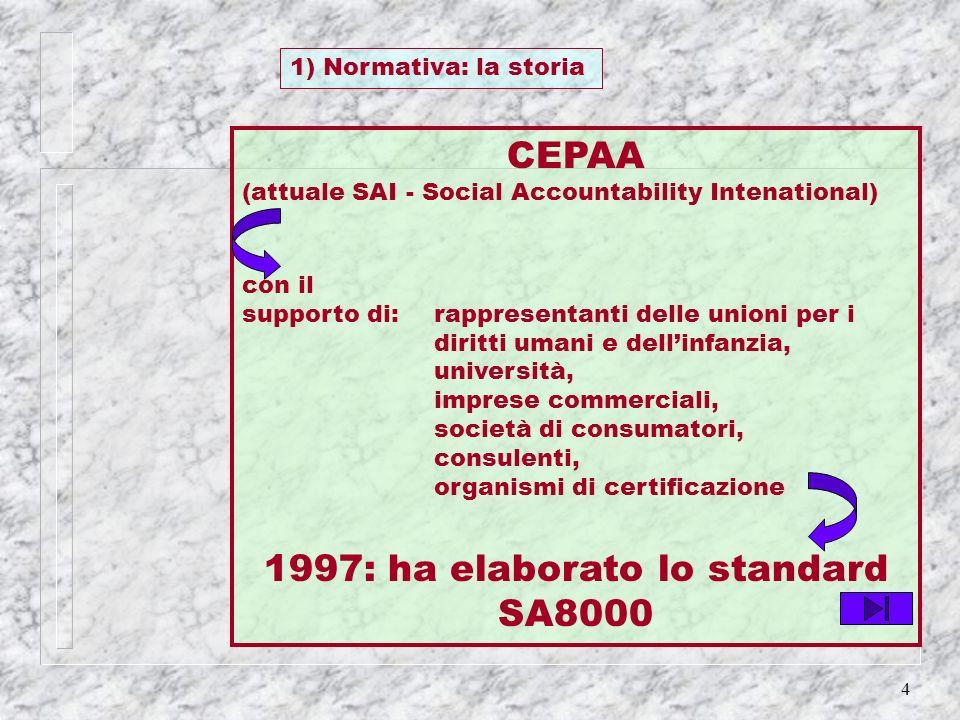4 CEPAA (attuale SAI - Social Accountability Intenational) con il supporto di: rappresentanti delle unioni per i diritti umani e dellinfanzia, univers