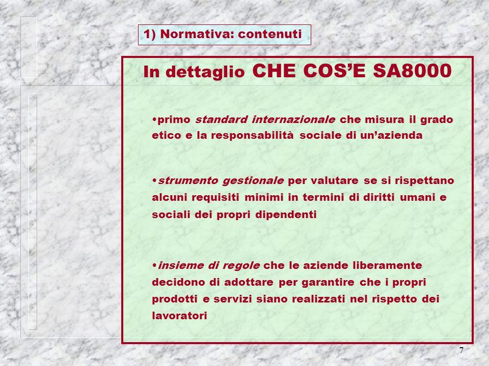 7 1) Normativa: contenuti In dettaglio CHE COSE SA8000 primo standard internazionale che misura il grado etico e la responsabilità sociale di unaziend