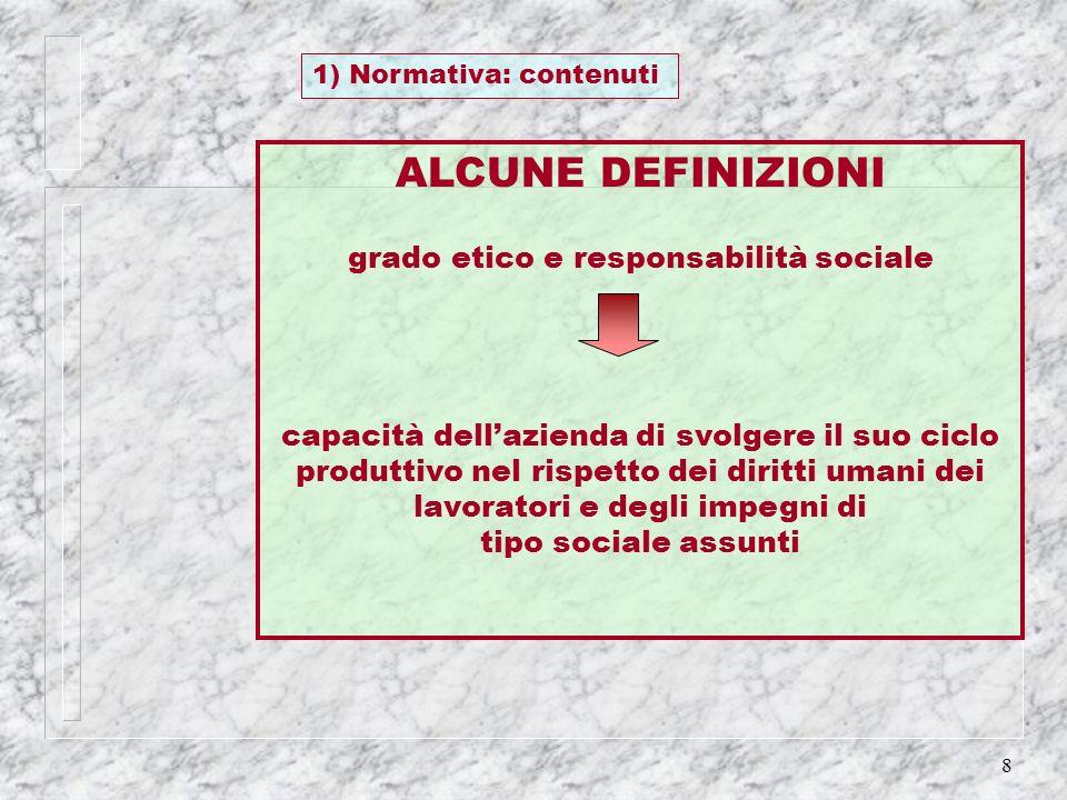8 1) Normativa: contenuti ALCUNE DEFINIZIONI grado etico e responsabilità sociale capacità dellazienda di svolgere il suo ciclo produttivo nel rispett