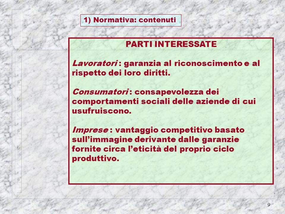 9 1) Normativa: contenuti PARTI INTERESSATE Lavoratori : garanzia al riconoscimento e al rispetto dei loro diritti. Consumatori : consapevolezza dei c