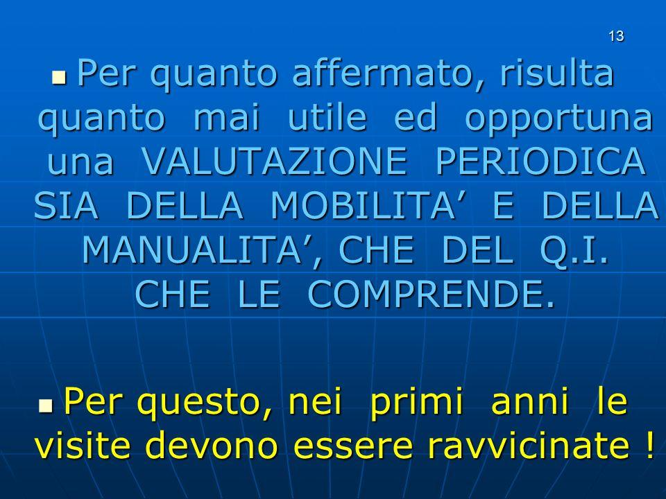 13 Per quanto affermato, risulta quanto mai utile ed opportuna una VALUTAZIONE PERIODICA SIA DELLA MOBILITA E DELLA MANUALITA, CHE DEL Q.I.