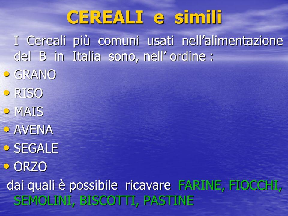 CEREALI e simili I Cereali più comuni usati nellalimentazione del B in Italia sono, nell ordine : GRANO GRANO RISO RISO MAIS MAIS AVENA AVENA SEGALE S
