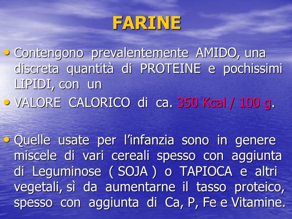 FARINE Contengono prevalentemente AMIDO, una discreta quantità di PROTEINE e pochissimi LIPIDI, con un Contengono prevalentemente AMIDO, una discreta