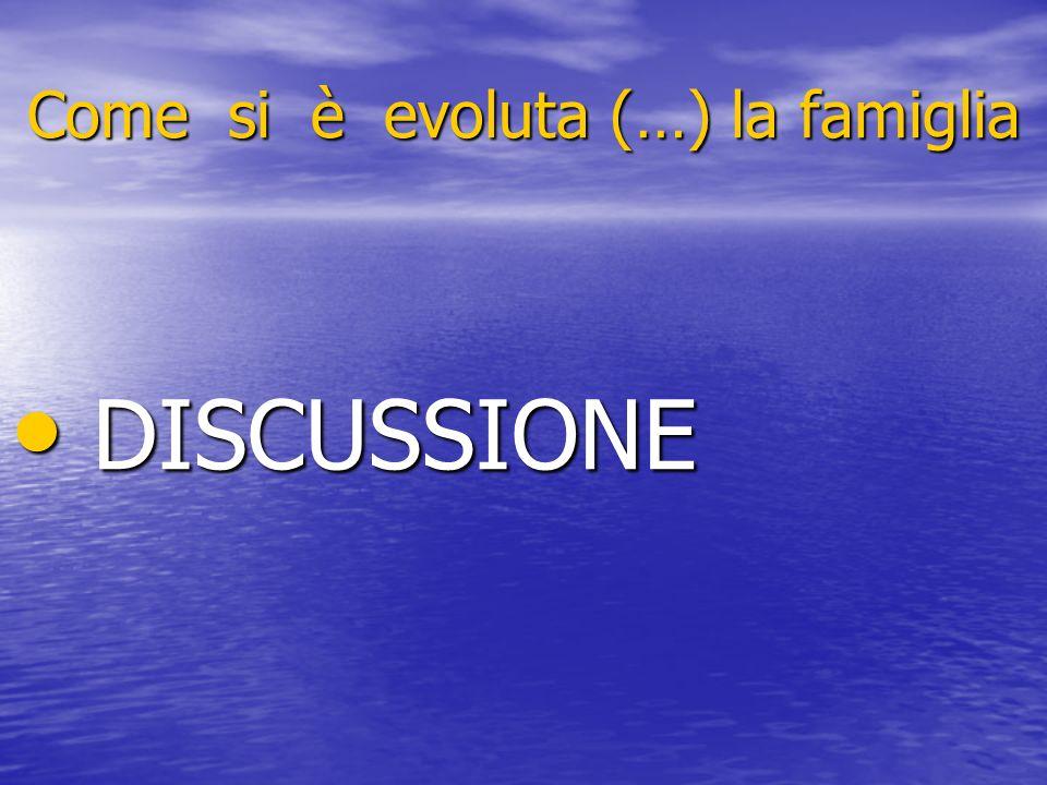 Come si è evoluta (…) la famiglia DISCUSSIONE DISCUSSIONE