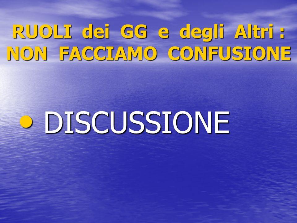 RUOLI dei GG e degli Altri : NON FACCIAMO CONFUSIONE DISCUSSIONE DISCUSSIONE