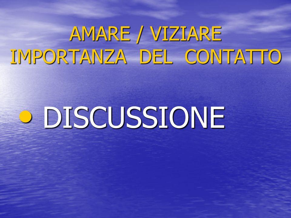 AMARE / VIZIARE IMPORTANZA DEL CONTATTO DISCUSSIONE DISCUSSIONE