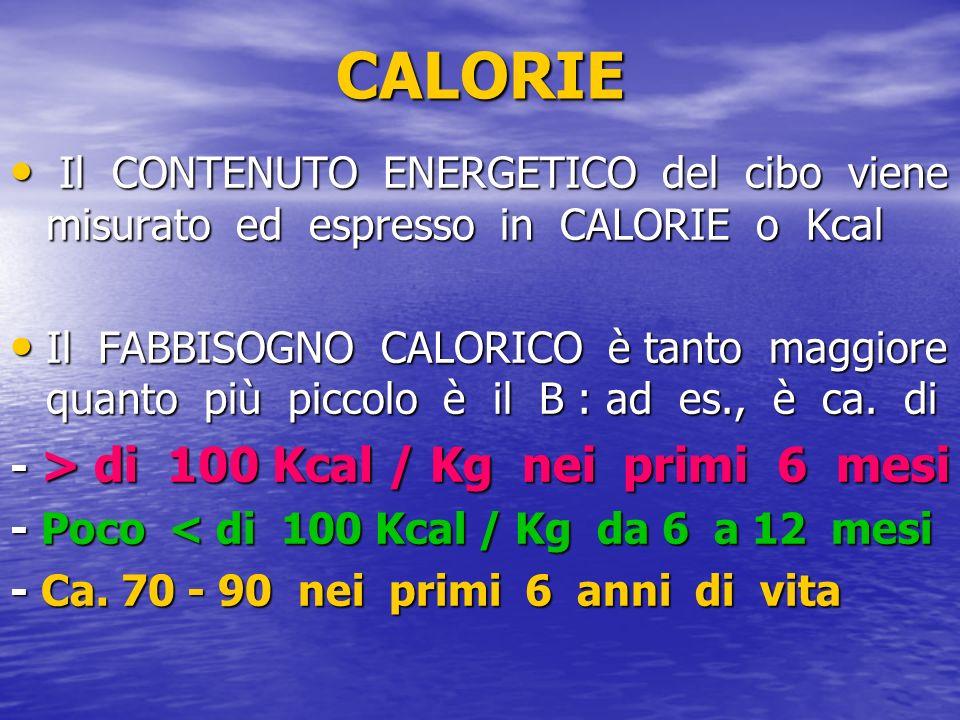 CALORIE Il CONTENUTO ENERGETICO del cibo viene misurato ed espresso in CALORIE o Kcal Il CONTENUTO ENERGETICO del cibo viene misurato ed espresso in C