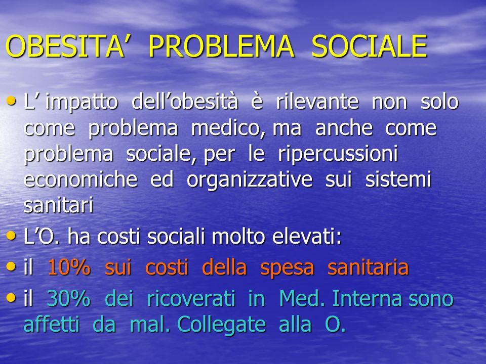 OBESITA PROBLEMA SOCIALE L impatto dellobesità è rilevante non solo come problema medico, ma anche come problema sociale, per le ripercussioni economi