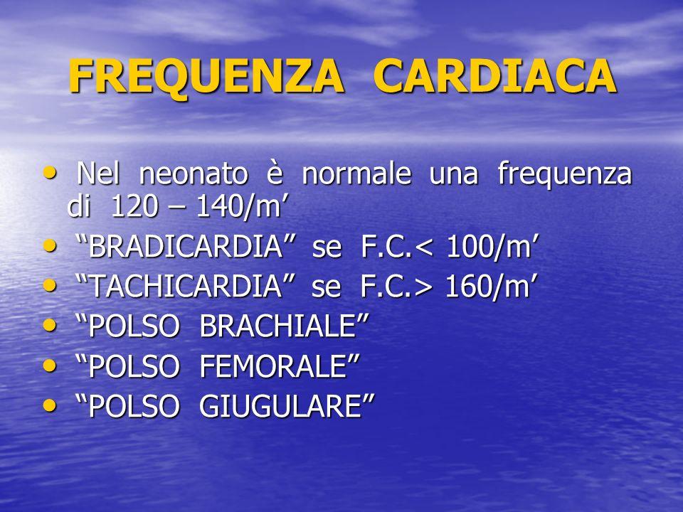 FREQUENZA CARDIACA Nel neonato è normale una frequenza di 120 – 140/m Nel neonato è normale una frequenza di 120 – 140/m BRADICARDIA se F.C.< 100/m BR
