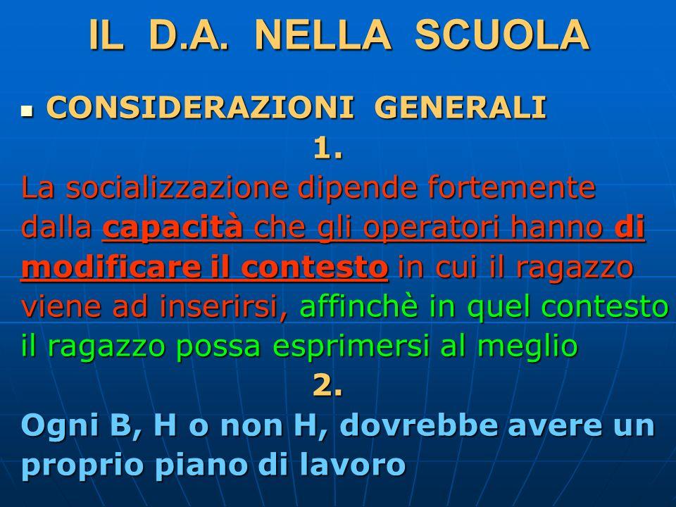 IL D.A.NELLA SCUOLA CONSIDERAZIONI GENERALI CONSIDERAZIONI GENERALI 1.