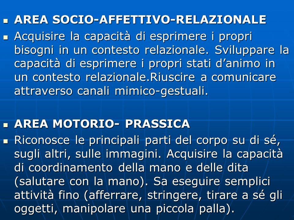 AREA SOCIO-AFFETTIVO-RELAZIONALE AREA SOCIO-AFFETTIVO-RELAZIONALE Acquisire la capacità di esprimere i propri bisogni in un contesto relazionale. Svil