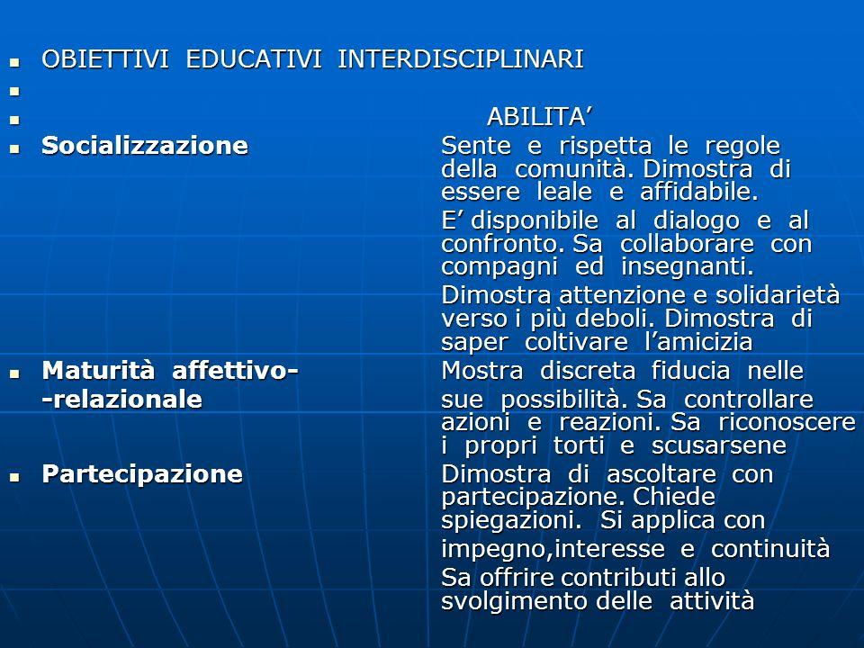 OBIETTIVI EDUCATIVI INTERDISCIPLINARI OBIETTIVI EDUCATIVI INTERDISCIPLINARI ABILITA ABILITA SocializzazioneSente e rispetta le regole della comunità.