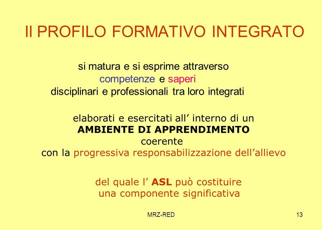 MRZ-RED13 Il PROFILO FORMATIVO INTEGRATO si matura e si esprime attraverso competenze e saperi disciplinari e professionali tra loro integrati elaborati e esercitati all interno di un AMBIENTE DI APPRENDIMENTO coerente con la progressiva responsabilizzazione dellallievo del quale l ASL può costituire una componente significativa