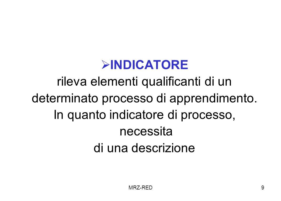 MRZ-RED9 INDICATORE rileva elementi qualificanti di un determinato processo di apprendimento.