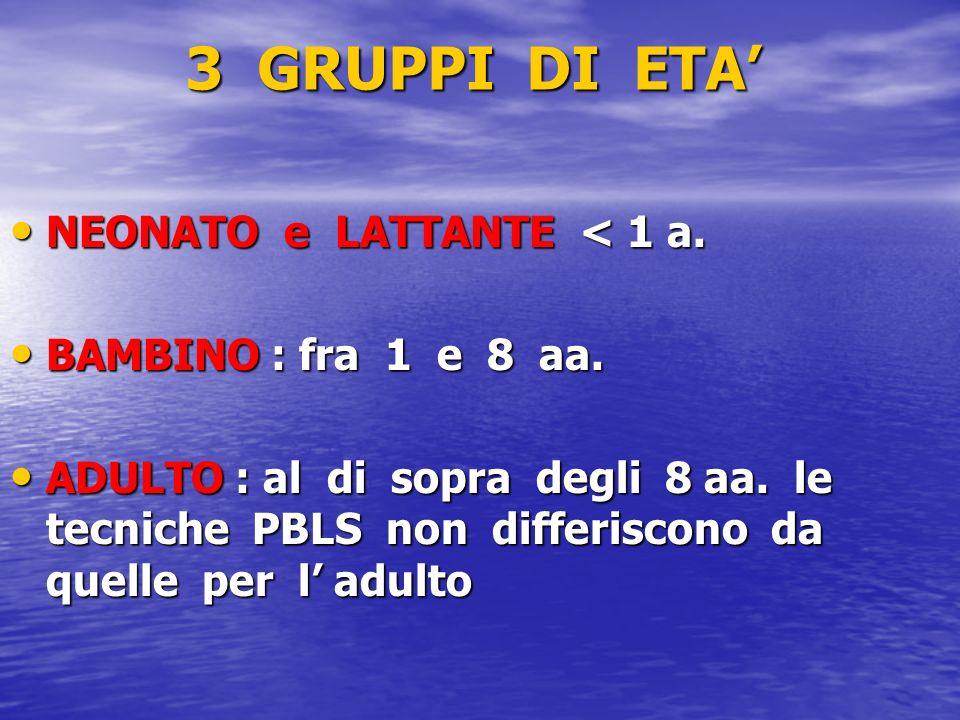 3 GRUPPI DI ETA NEONATO e LATTANTE < 1 a. NEONATO e LATTANTE < 1 a. BAMBINO : fra 1 e 8 aa. BAMBINO : fra 1 e 8 aa. ADULTO : al di sopra degli 8 aa. l
