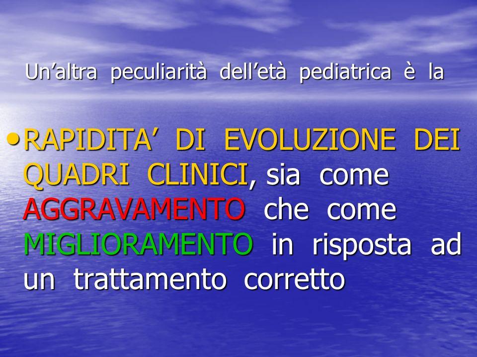 Unaltra peculiarità delletà pediatrica è la Unaltra peculiarità delletà pediatrica è la RAPIDITA DI EVOLUZIONE DEI QUADRI CLINICI, sia come AGGRAVAMEN