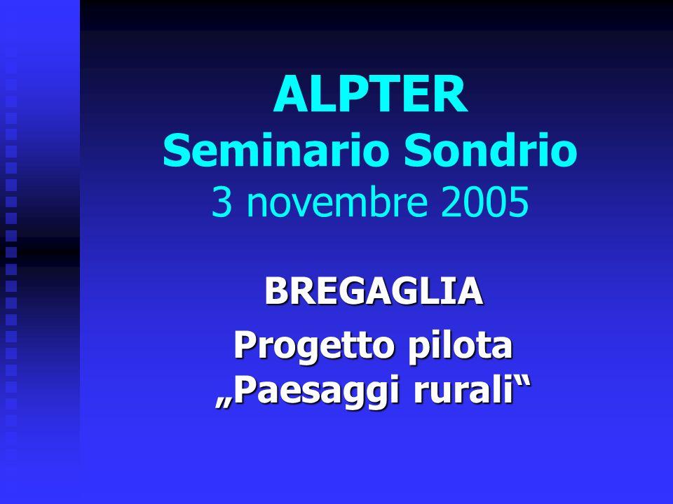 ALPTER Seminario Sondrio 3 novembre 2005 BREGAGLIA Progetto pilota Paesaggi rurali
