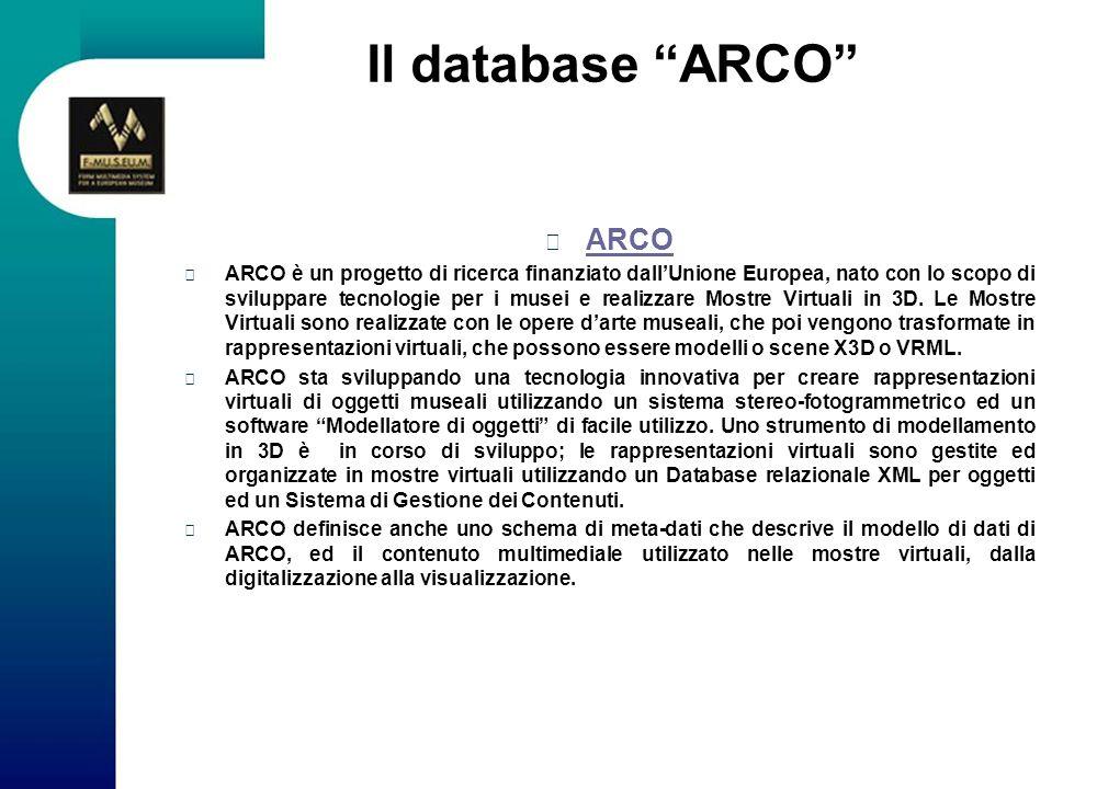 Il database ARCO ARCO ARCO è un progetto di ricerca finanziato dallUnione Europea, nato con lo scopo di sviluppare tecnologie per i musei e realizzare