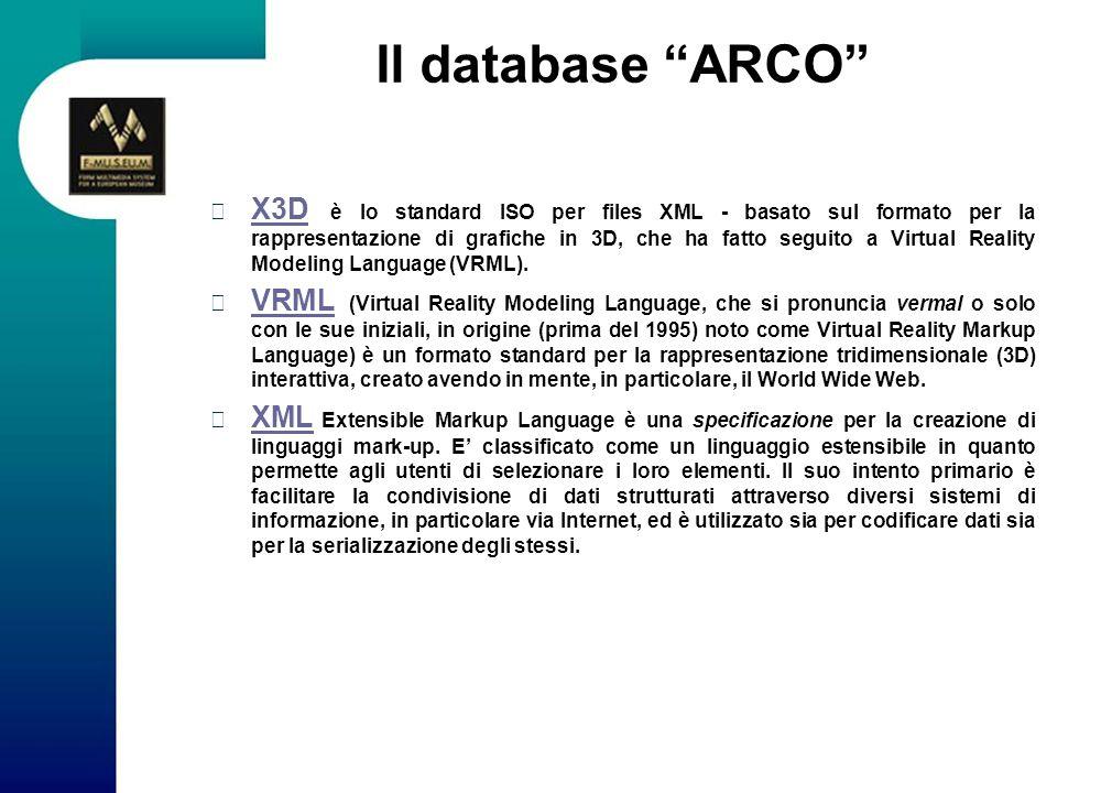 Il database ARCO X3D è lo standard ISO per files XML - basato sul formato per la rappresentazione di grafiche in 3D, che ha fatto seguito a Virtual Re