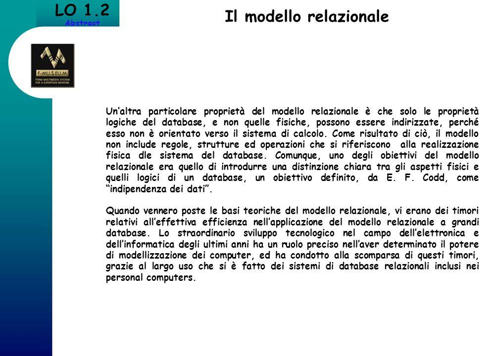 Il modello relazionale LO 1.2 Abstract Unaltra particolare proprietà del modello relazionale è che solo le proprietà logiche del database, e non quell