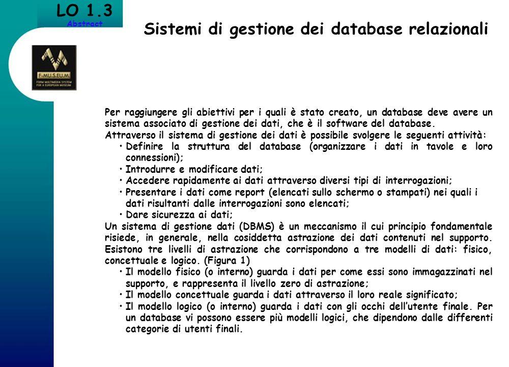 Sistemi di gestione dei database relazionali LO 1.3 Abstract Per raggiungere gli abiettivi per i quali è stato creato, un database deve avere un siste