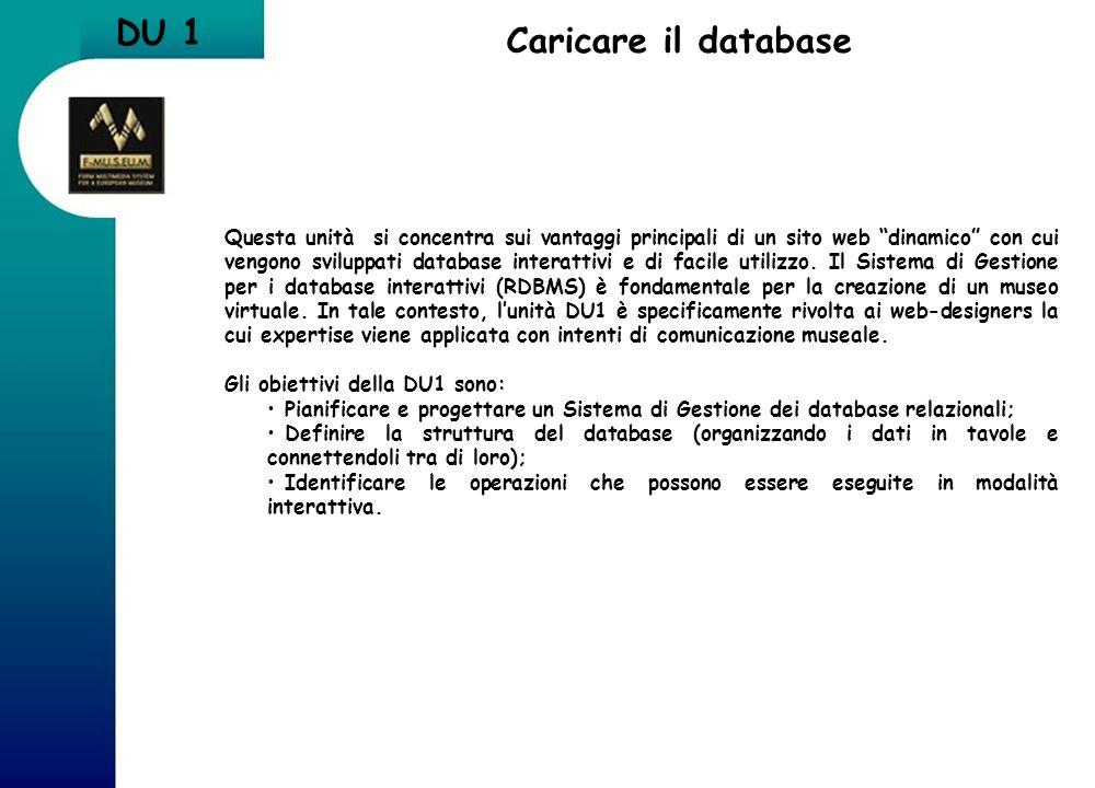 Caricare il database Questa unità si concentra sui vantaggi principali di un sito web dinamico con cui vengono sviluppati database interattivi e di fa