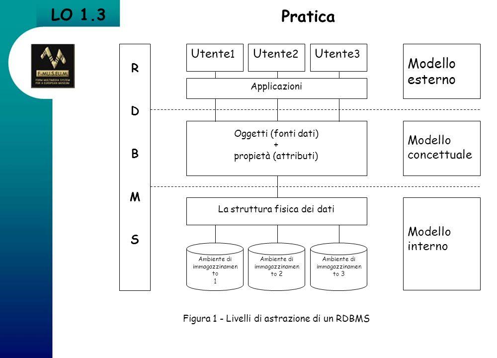 Pratica LO 1.3 Figura 1 - Livelli di astrazione di un RDBMS RDBMSRDBMS La struttura fisica dei dati Oggetti (fonti dati) + propietà (attributi) Utente
