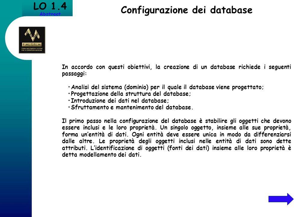 Configurazione dei database LO 1.4 Abstract In accordo con questi obiettivi, la creazione di un database richiede i seguenti passaggi: Analisi del sis