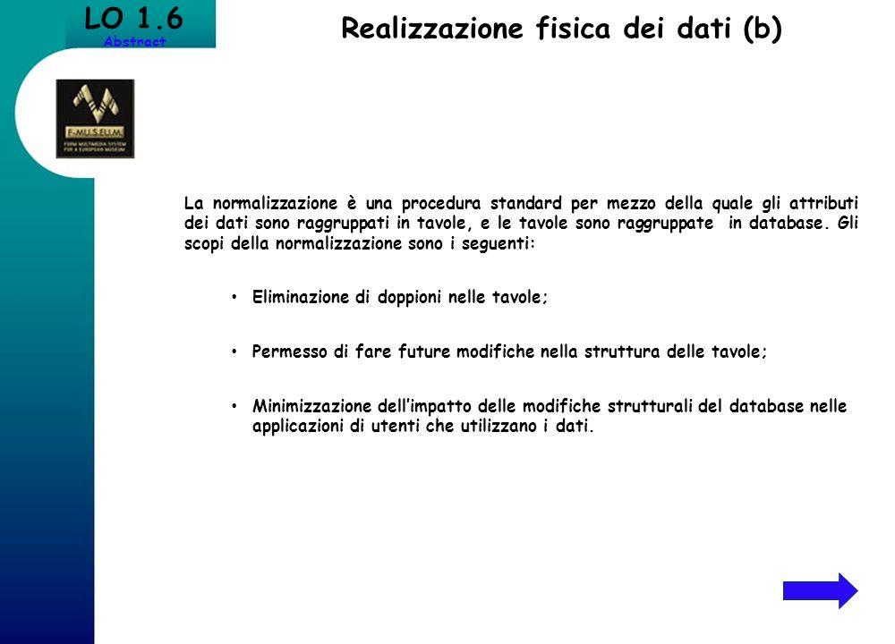 Realizzazione fisica dei dati (b) LO 1.6 Abstract La normalizzazione è una procedura standard per mezzo della quale gli attributi dei dati sono raggru