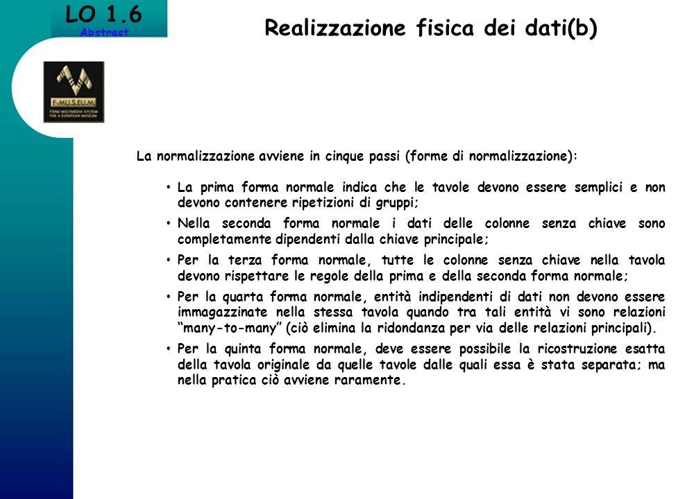 Realizzazione fisica dei dati(b) LO 1.6 Abstract La normalizzazione avviene in cinque passi (forme di normalizzazione): La prima forma normale indica