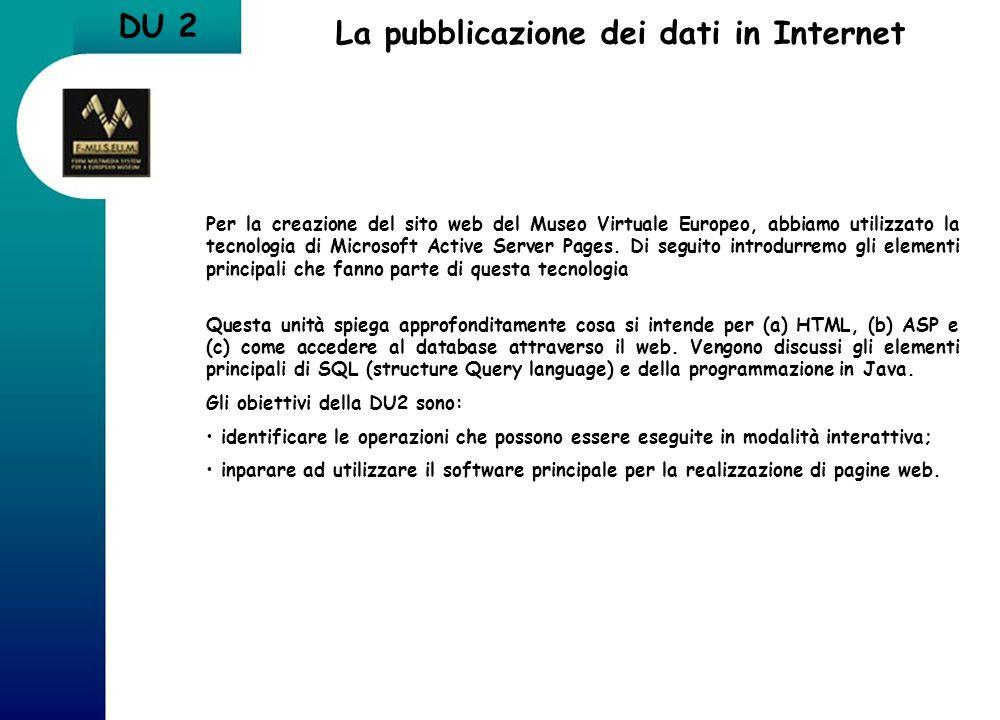 DU 2 La pubblicazione dei dati in Internet Per la creazione del sito web del Museo Virtuale Europeo, abbiamo utilizzato la tecnologia di Microsoft Act