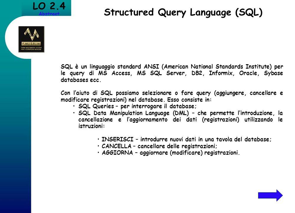 LO 2.4 Abstract Structured Query Language (SQL) SQL è un linguaggio standard ANSI (American National Standards Institute) per le query di MS Access, M